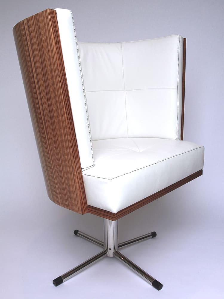 Zebrano houten stoel met wit leer